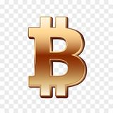 Bitcoin golden sign. Isolated on white. Golden digital currency. Vector design Royalty Free Stock Photo