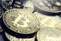 Bitcoin. Golden and silver bitcoins - virtual cryptocurrency Stock Photos