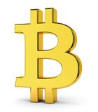 Bitcoin golden symbol. Golden symbol of bitcoin isolated on white background. Crypto currency, e-business and technology concept Stock Photos