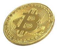Bitcoin Goldenes Bitcoin lokalisiert auf weißem Hintergrund , befestigend Stockfotografie