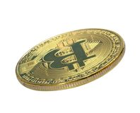 Bitcoin Goldenes Bitcoin lokalisiert auf weißem Hintergrund , befestigend Stockfoto