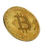 Bitcoin Goldenes Bitcoin lokalisiert auf weißem Hintergrund , befestigend Lizenzfreies Stockbild