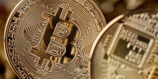 Bitcoin-Goldmünze, cryptocurrency und blockchain Konzept Lizenzfreies Stockfoto