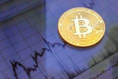 Bitcoin-Goldmünze Virtuelles cryptocurrency Konzept Lizenzfreie Stockbilder