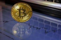 Bitcoin-Goldmünze Virtuelles cryptocurrency Konzept Stockfotos