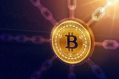 Bitcoin gotówka Crypto waluta Blokowy łańcuch 3D Bitcoin gotówki isometric Fizyczna moneta z wireframe łańcuchem Blockchain pojęc royalty ilustracja
