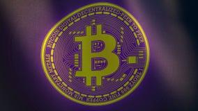 Bitcoin gouden cryptocurrency logotype op golvende violette vlag Royalty-vrije Stock Fotografie