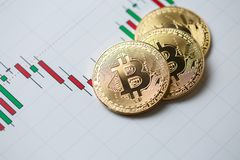 Bitcoin gouden muntstuk en grafiekachtergrond Royalty-vrije Stock Fotografie
