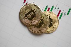 Bitcoin gouden muntstuk en grafiekachtergrond Royalty-vrije Stock Foto's