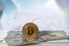 Bitcoin gouden muntstuk met financiële grafiek en dollarachtergrond Royalty-vrije Stock Afbeeldingen