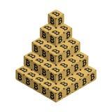 Bitcoin Grande piramide dorata di Bitcoin Fotografie Stock Libere da Diritti