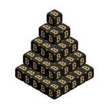 Bitcoin Grande piramide nera di Bitcoin Fotografia Stock Libera da Diritti