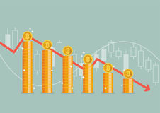 Bitcoin with graph down. Financial concept vector illustration