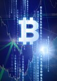 Bitcoin graphic icon with binary code and market finance economy charts. Digital composite of bitcoin graphic icon with binary code and market finance economy Stock Photography