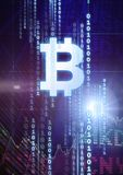 Bitcoin graphic icon with binary code and market finance economy charts. Digital composite of bitcoin graphic icon with binary code and market finance economy Royalty Free Stock Image