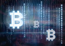 bitcoin graphic icons and binary code lines stock illustration