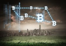 Bitcoin graphic icons connecting over city with binary codes. Digital composite of bitcoin graphic icons connecting over city with binary codes stock photos