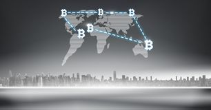Bitcoin graphic icons on world map over city. Digital composite of bitcoin graphic icons on world map over city stock illustration