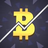 Bitcoin groeit illustratie Groot gouden bitcoinpictogram met grafisch op backgound Royalty-vrije Stock Foto's
