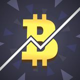 Bitcoin grow up illustration. Big golden bitcoin icon with graphic on backgound. Royalty Free Stock Images