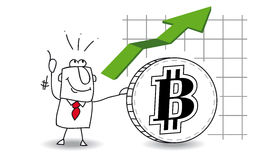 Bitcoin is growing up. Fluctuation of the Bitcoin up Stock Photography