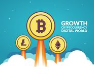 Bitcoin growth business concept digital money. Digital economy finance investment market for bitcoin.  Stock Photo