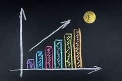 Bitcoin growth chart. Graph showing the growth of bitcoin chalk on the Board stock photography