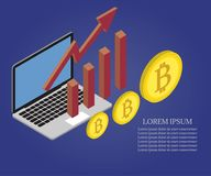 Bitcoin, growth chart, laptop 2. 3d vector isometric Bitcoin growth concept. Abstract vector illustration of growth chart. Business success diagram, growing up Stock Photos