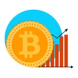 Bitcoin growth chart symbol. Badge label emblem btc growing, arrow infographic and banking increase. Vector illustration Stock Image