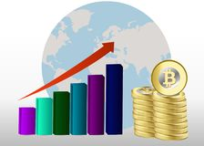 Bitcoin growth concept. Bitcoin revenue illustration. Stacks of gold coins graph with bitcoin. Bitcoin growth concept. Bitcoin revenue illustration. Stacks of Stock Photos