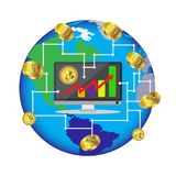 Bitcoin growth concept Payment and trade on computer symbol Bitcoin revenue illustration Stacks of gold coins like income graph wi. Th bitcoin Vector Royalty Free Stock Photography
