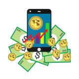 Bitcoin growth concept Payment and trade on smartphone symbol Bitcoin revenue illustration Stacks of gold coins like income graph. With bitcoin Vector Royalty Free Stock Photos