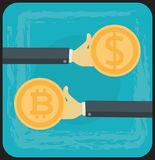 Bitcoin Growth on Cryptocurrency Markets Concept Cartoon Illustration Royalty Free Stock Photo