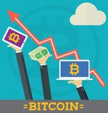 Bitcoin Growth on Cryptocurrency Markets Concept Cartoon  Stock Image