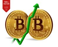 Bitcoin. Growth. Green arrow up. Bitcoin index rating go up on exchange market. Crypto currency. 3D isometric Physical. Golden and silver coins isolated on Stock Images