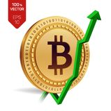 Bitcoin. Growth. Green arrow up. Bitcoin index rating go up on exchange market. Crypto currency. 3D isometric Physical Golden coin. Isolated on white background Royalty Free Stock Image