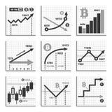 Bitcoin Growth Up Chart Graphics Set. Vector Royalty Free Stock Photos