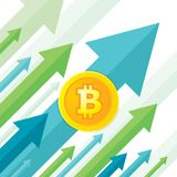 Bitcoin growth up trend - creative vector concept illustration in flat style. Digital cryptocurrency business concept banner. Royalty Free Stock Photo