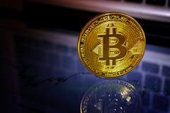 Bitcoin guld- mynt Faktiskt cryptocurrencybegrepp Fotografering för Bildbyråer