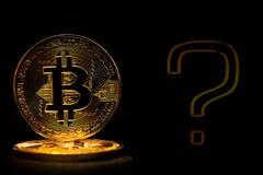 Bitcoin ha isolato su fondo nero con la domanda del testo Immagini Stock