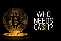 Bitcoin ha isolato sul nero con il WHO del testo HA BISOGNO DEI CONTANTI Immagini Stock