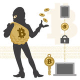 Bitcoin hacker and transaction Stock Photos
