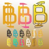 Bitcoin with hammers set of icons and labels vector Stock Images