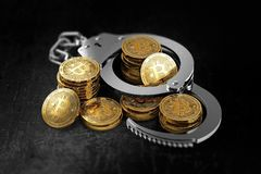 Bitcoin in handcuffs as banks wants to prohibit BTC concept. 3D rendering stock photos