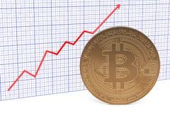 Bitcoin handelmarknad, växande diagram framförande 3d Vektor Illustrationer