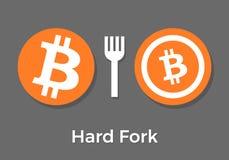Bitcoin hard fork split to Bitcoin Cash blockchain cryptocurrenc stock illustration