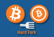 Bitcoin hard fork split to Bitcoin Cash blockchain cryptocurrency. Flat illustration stock illustration