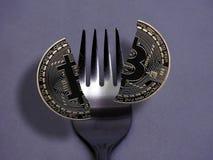 Bitcoin hard-zachte vork Royalty-vrije Stock Foto