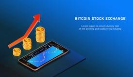 Bitcoin herauf Wachstumskonzept Bitcoin-Einkommensillustration Devisenhandelsdiagramm online austausch lizenzfreie abbildung