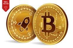 Bitcoin hervorragend isometrische körperliche Münzen 3D Digital-Währung Cryptocurrency Silbermünze mit Sternsymbol und goldene Mü lizenzfreie abbildung